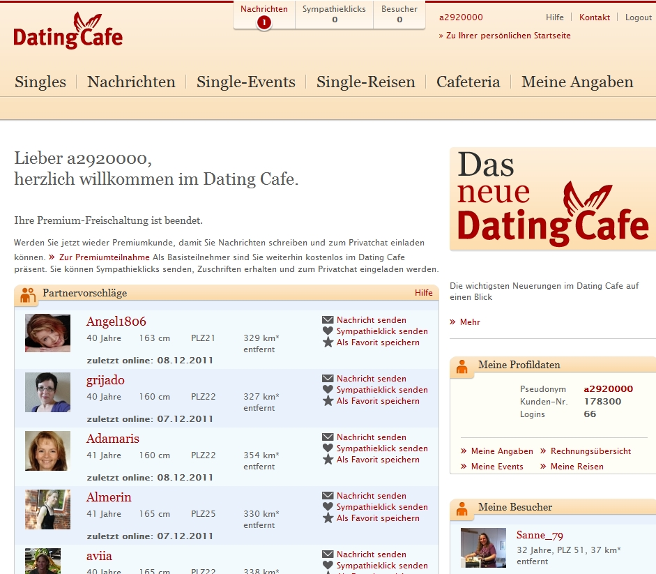 Dating cafe kupong