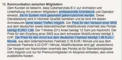 Auszug aus den Affaire.com AGB