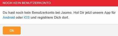 bei jaumo kann man sich nur noch über die app registrieren