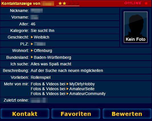 Kontaktbox - Sie sucht Ihn Anzeige