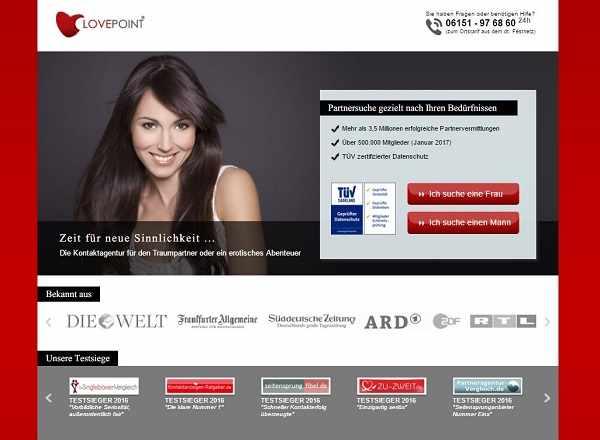 Lovepoint.de Partnervermittlung und Seitensprungagentur in einem