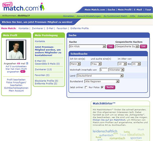 Match.com Login-Bereich