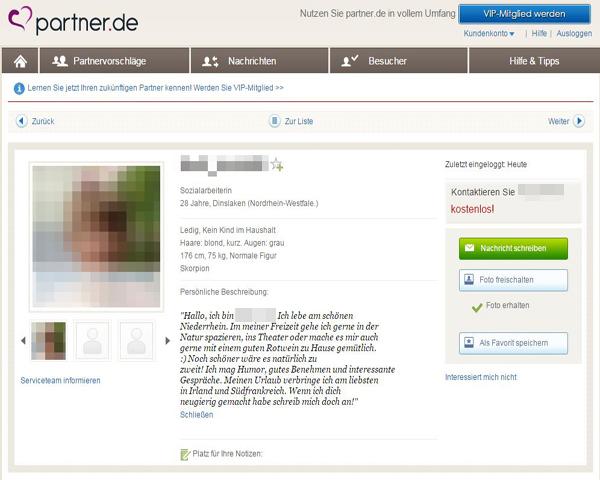 Beispielprofil bei Partner.de