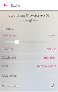 Single.de Flirt App Suchfunktionen