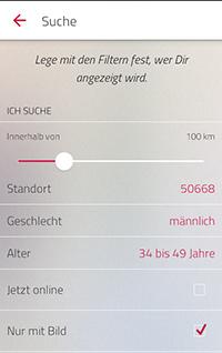 Single.de Flirt App Suchfunktionen