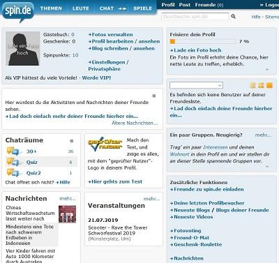 spin.de community profil und innenleben