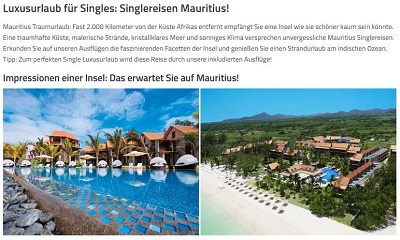 singlereise mauritius