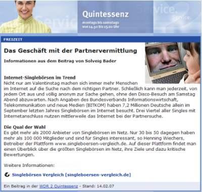 Internet partnervermittlungen test